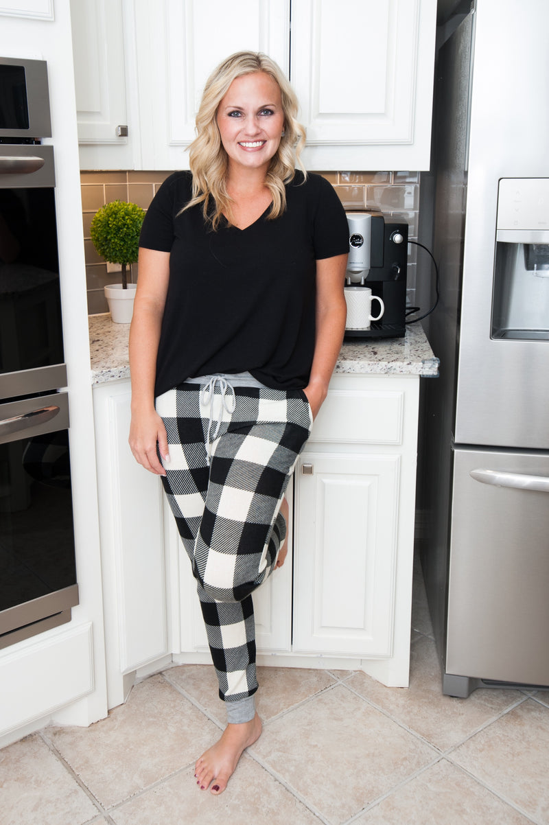 Buffalo Plaid Pajama Pants in Black and White