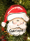 Personalized Santa Handpainted Wooden Ornament