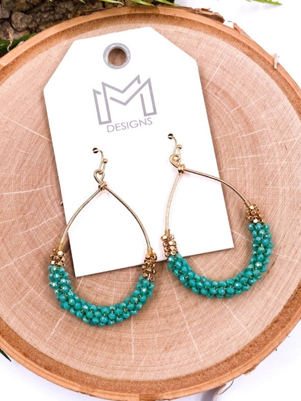 Turquoise Teardrop Beaded Earrings