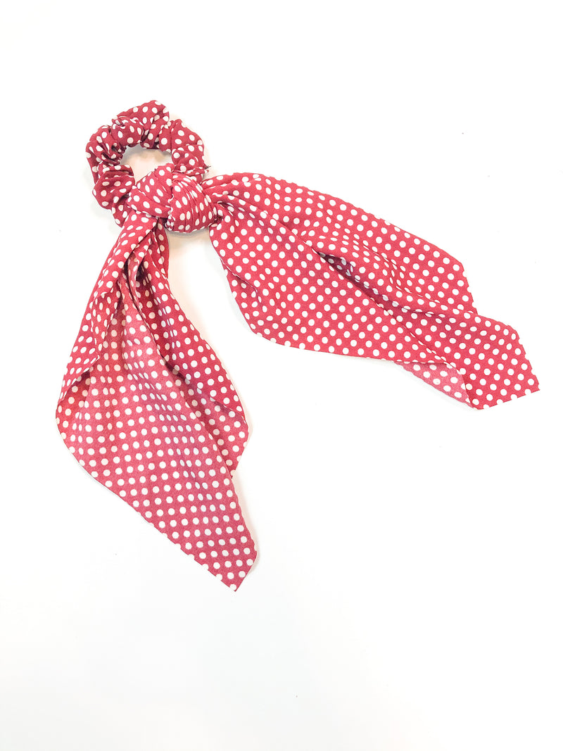 Polkadot Hair Tie with Scrunchi in Red