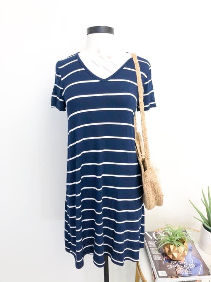 Navy Stripe V-Neck Dress