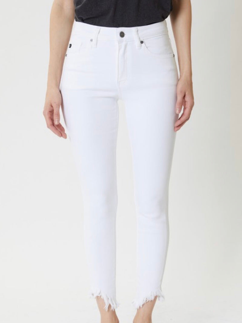 White High Rise Distressed Ankle Skinny Jeans