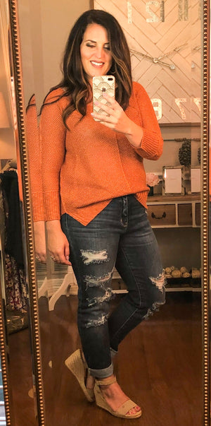 Knit Sweater in Pumpkin