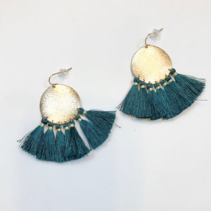 Forrest Green Silk Tassel Earrings