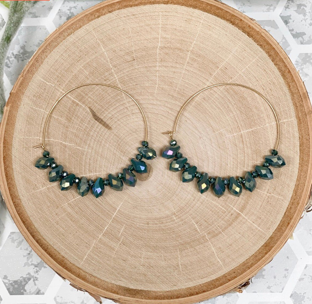 Green Stone Hoop Earrings