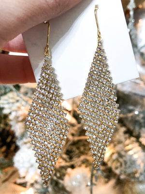 Diamond Shaped Crystal and Gold Earrings