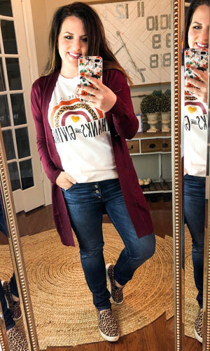 Long Open Front Cardigan in Maroon