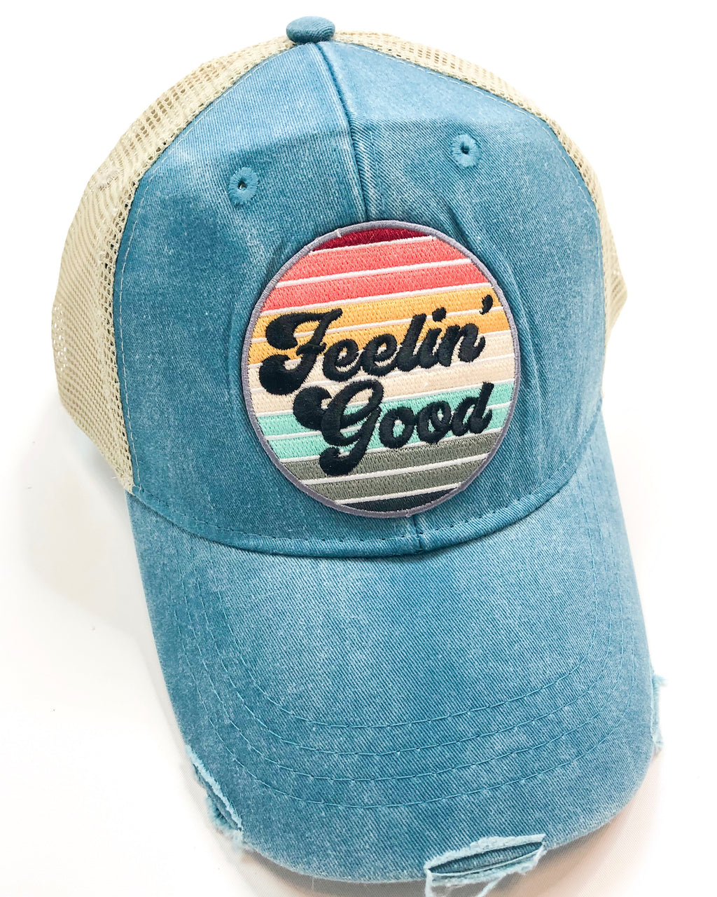 Vintage Distressed Feeling Good Hat in Teal
