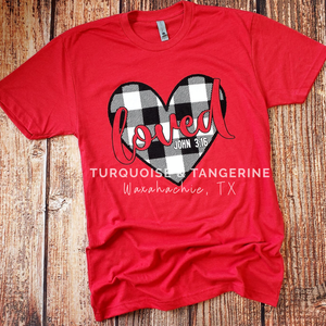 Loved Buffalo Plaid Heart T-Shirt