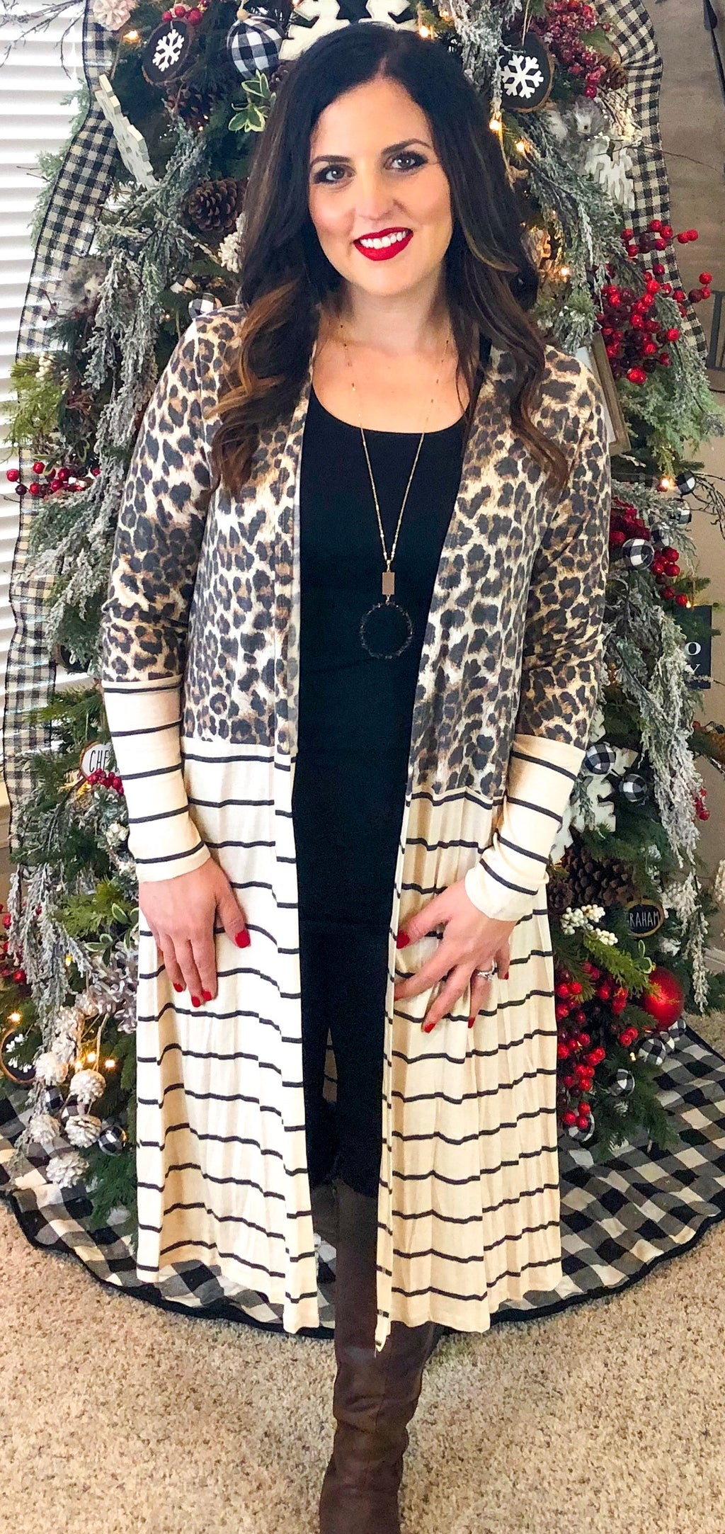 Leopard and Stripe Long Cardigan