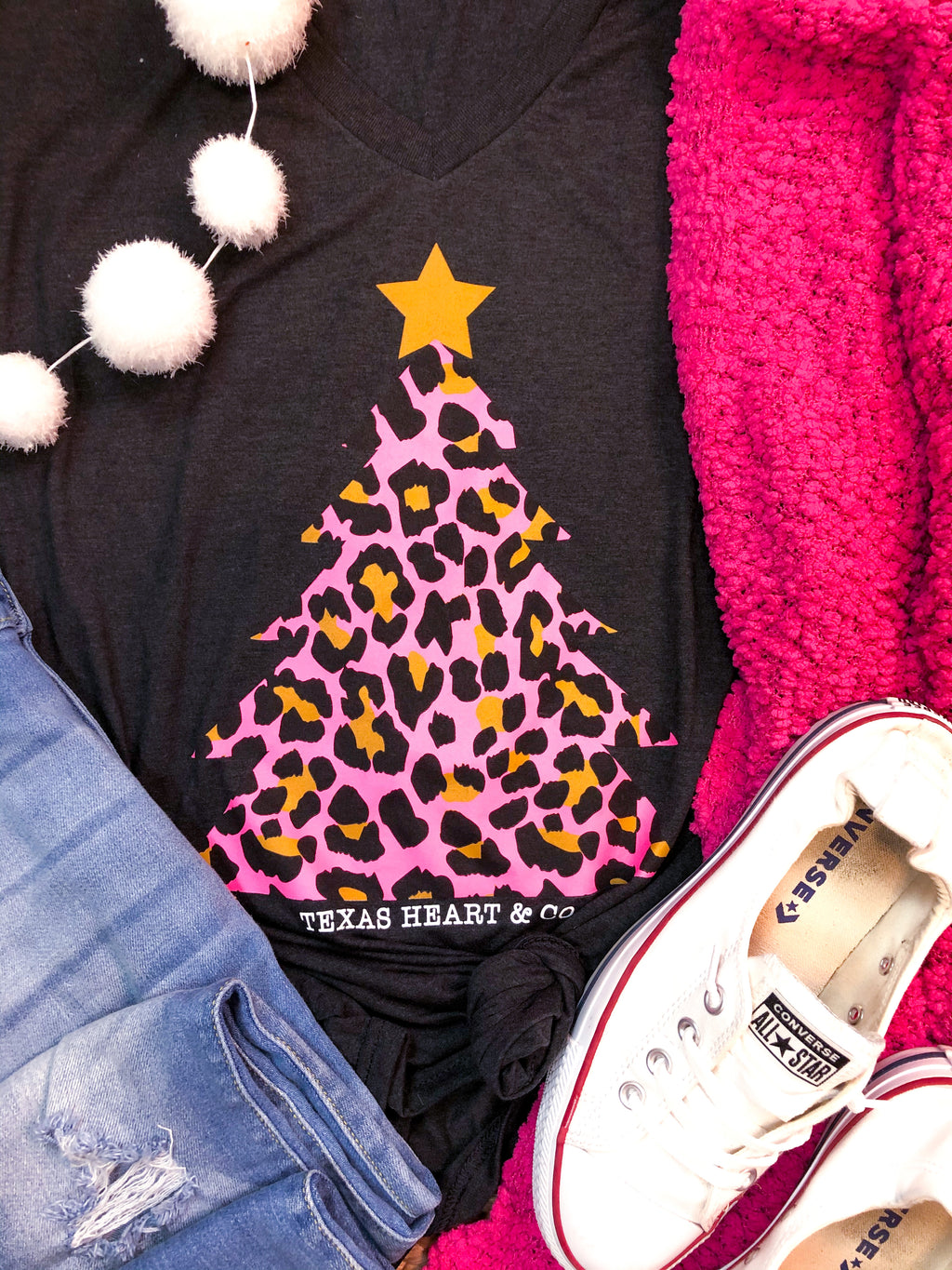 Pink Leopard Christmas Tree T-Shirt