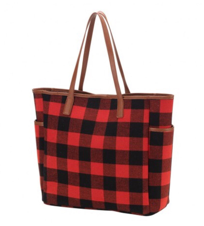 Buffalo Plaid Tote Bag in Red and Black