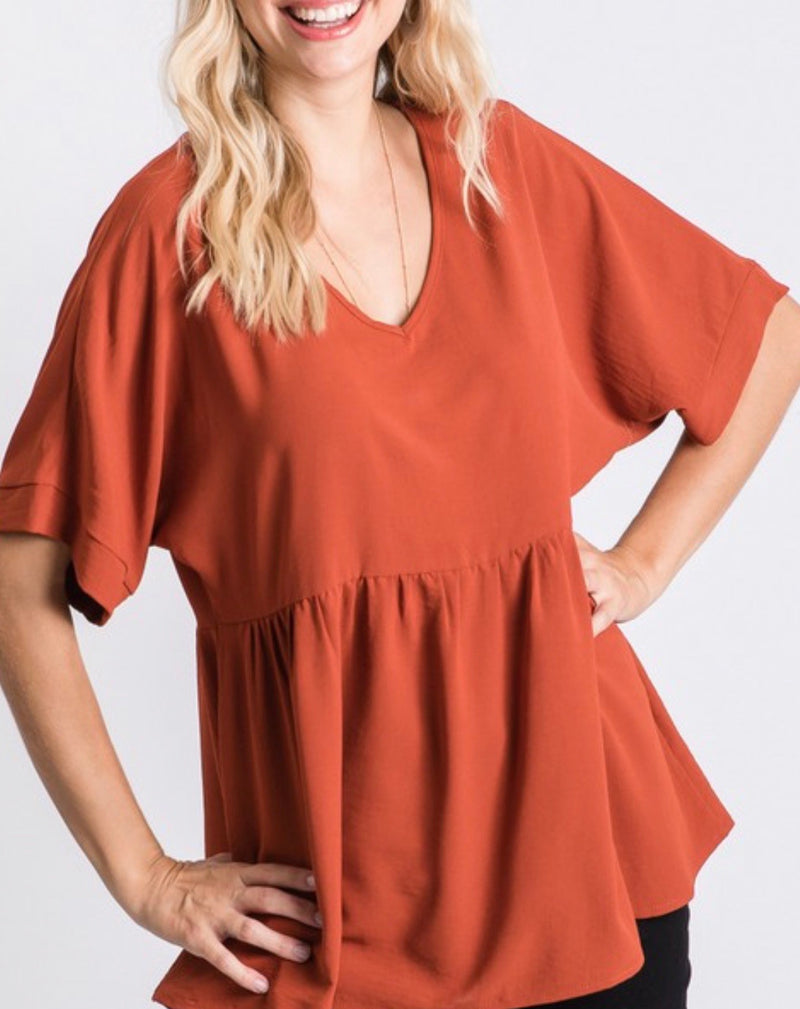 Fall Baby Doll V-Neck Top in Rust