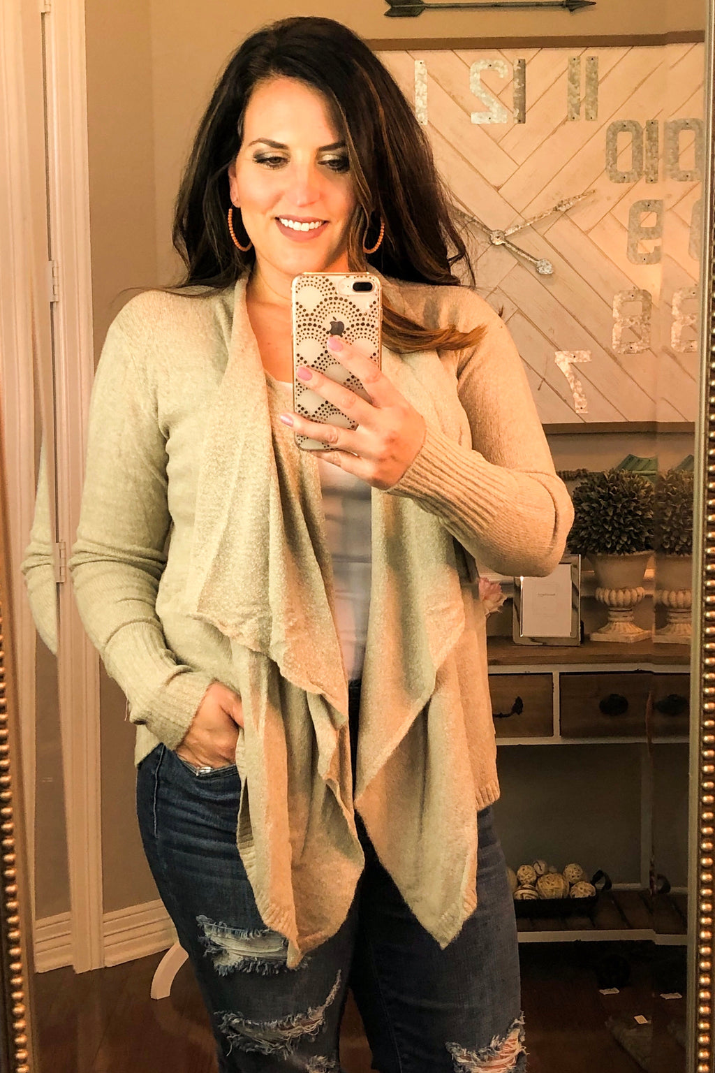 Knit Waterfall Cardigan in Taupe