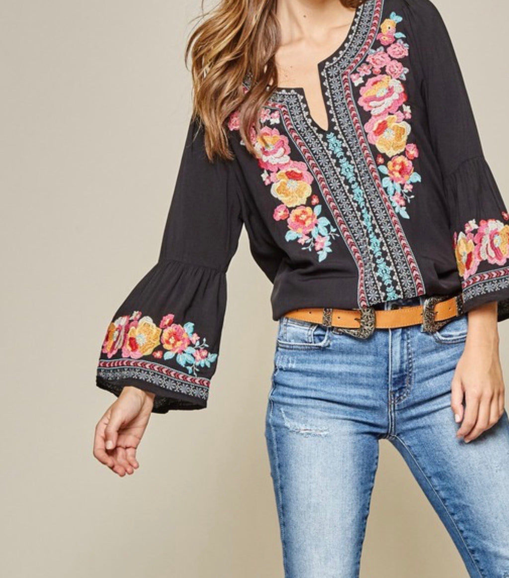 Floral Embroidered Tunic in Black Preorder