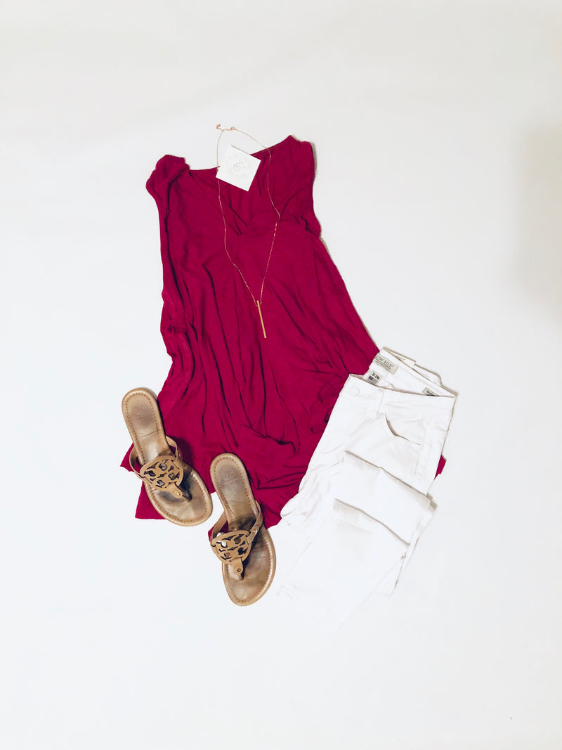 Asymmetrical Sleeveless Top in Berry