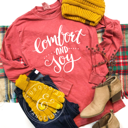 Comfort and Joy Long Sleeve T-Shirt in Crimson Preorder