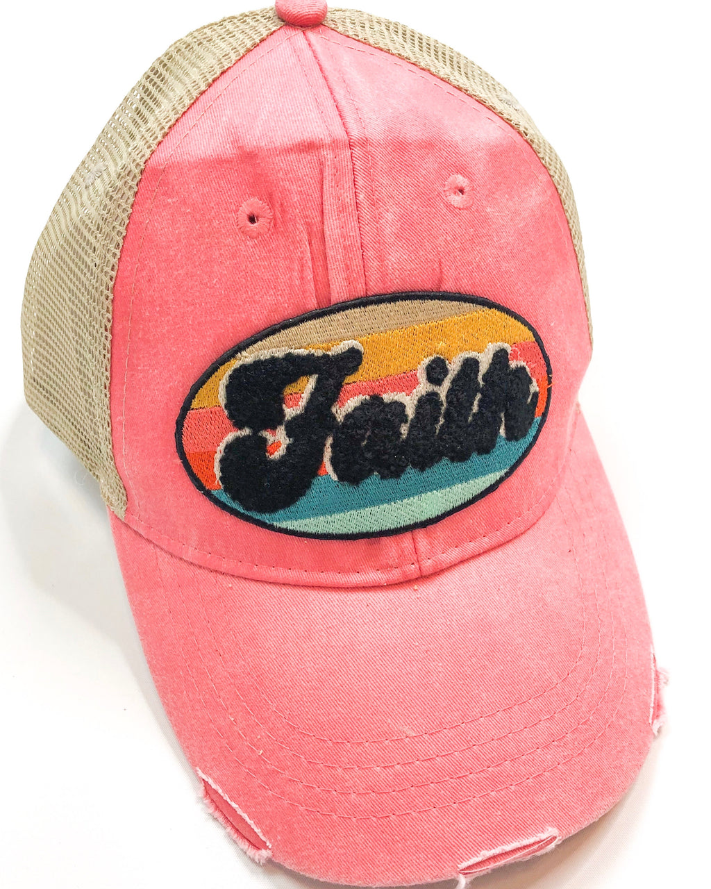 Vintage Distressed Faith Hat in Coral