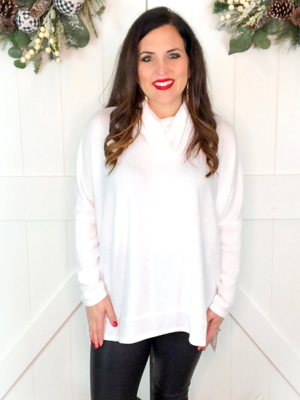 Holiday White Turltle Neck Poncho Top