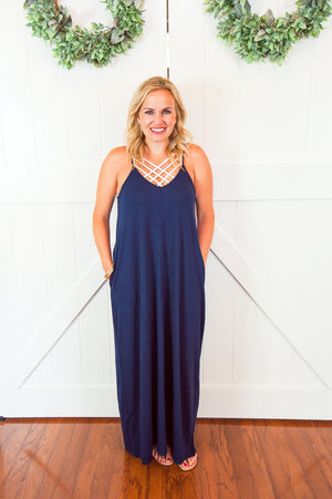 Navy Blue Spaghetti Strap Maxi Dress