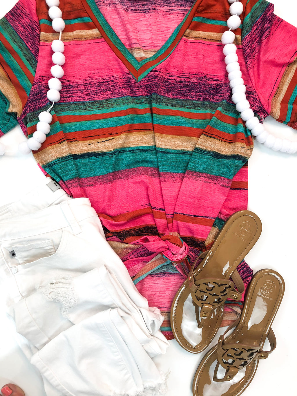 Serape Stripe V-Neck Top