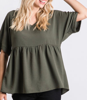 Fall Baby Doll V-Neck Top in Olive