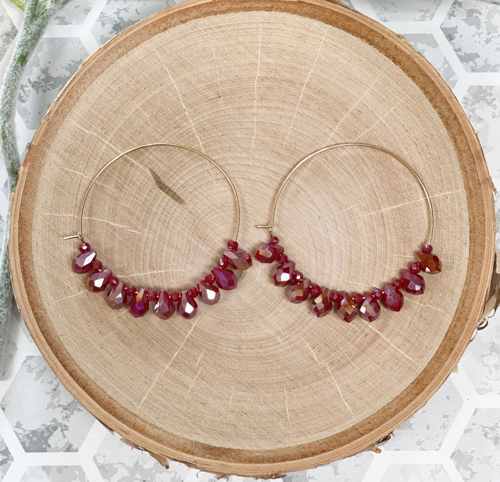Crimson Stone Hoop Earrings