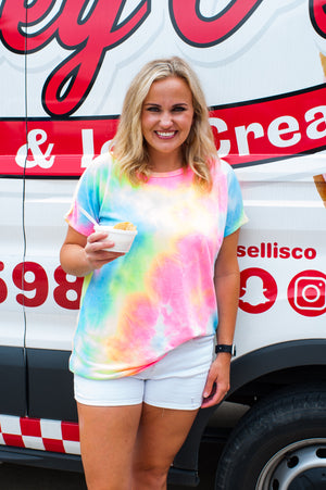 Rainbow Tie Dye Crew Neck Top