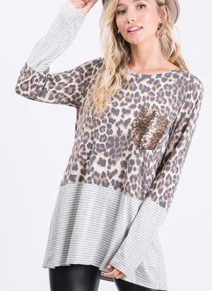 Animal Print and Stripe Sequin Pocket Top