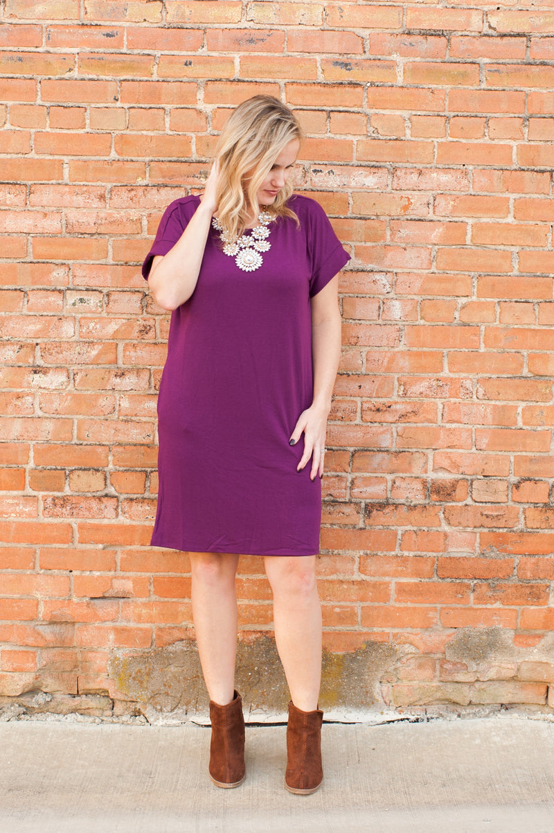 Rolled Sleeve Dress in Plum