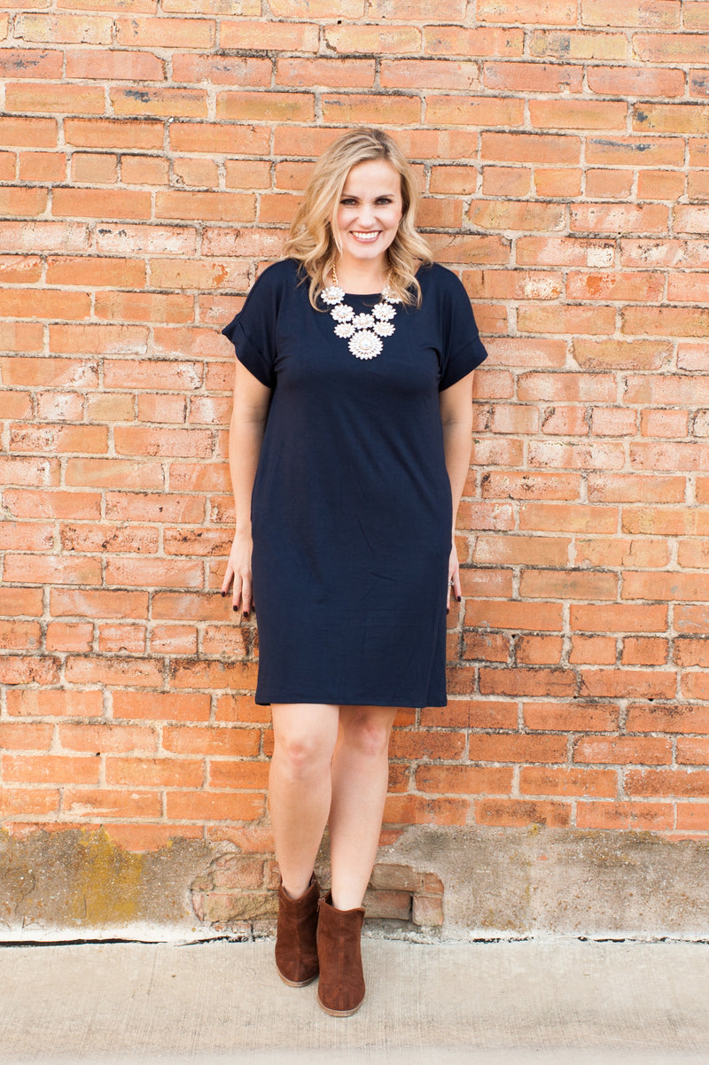 Rolled Sleeve Dress in Navy