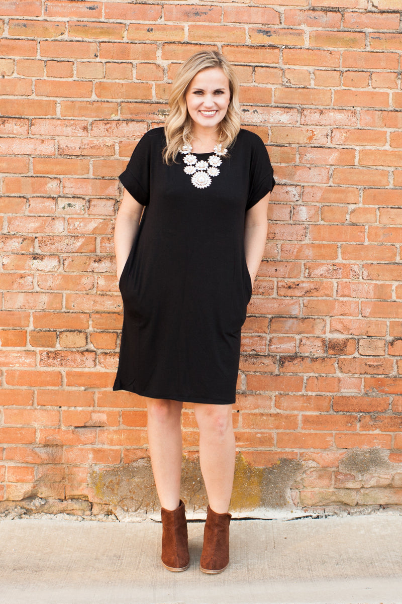 Rolled Sleeve Dress in Black