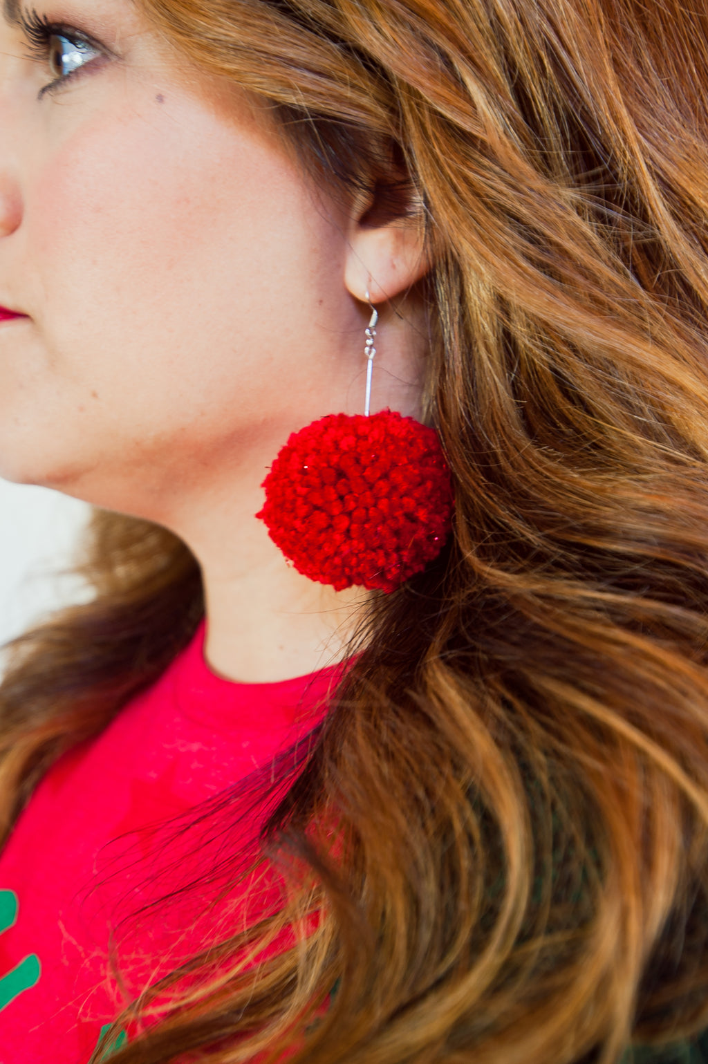 Red Pom Pom Earring