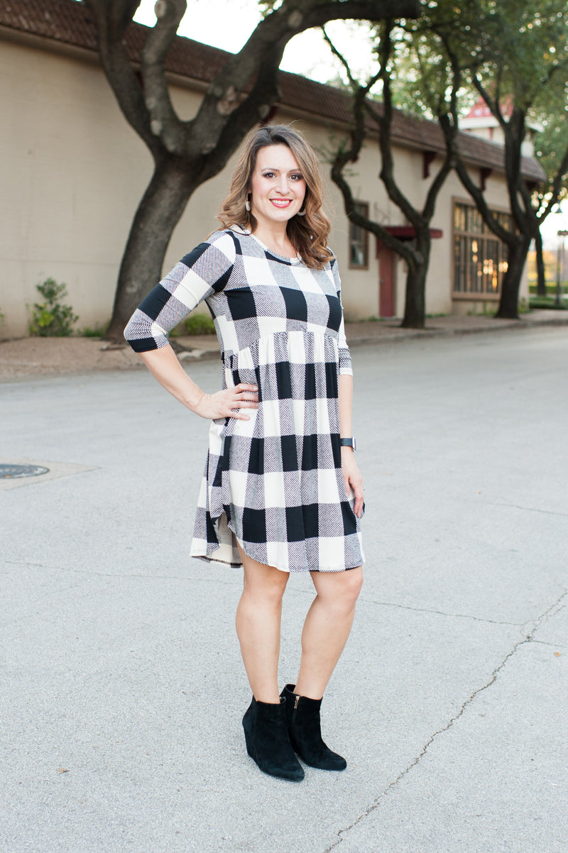 Buffalo Plaid Babydoll Dress in White and Black