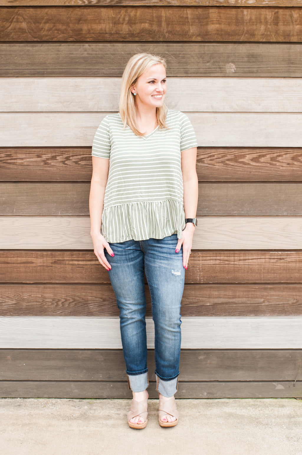 Sage Green and White Striped Peplum Top