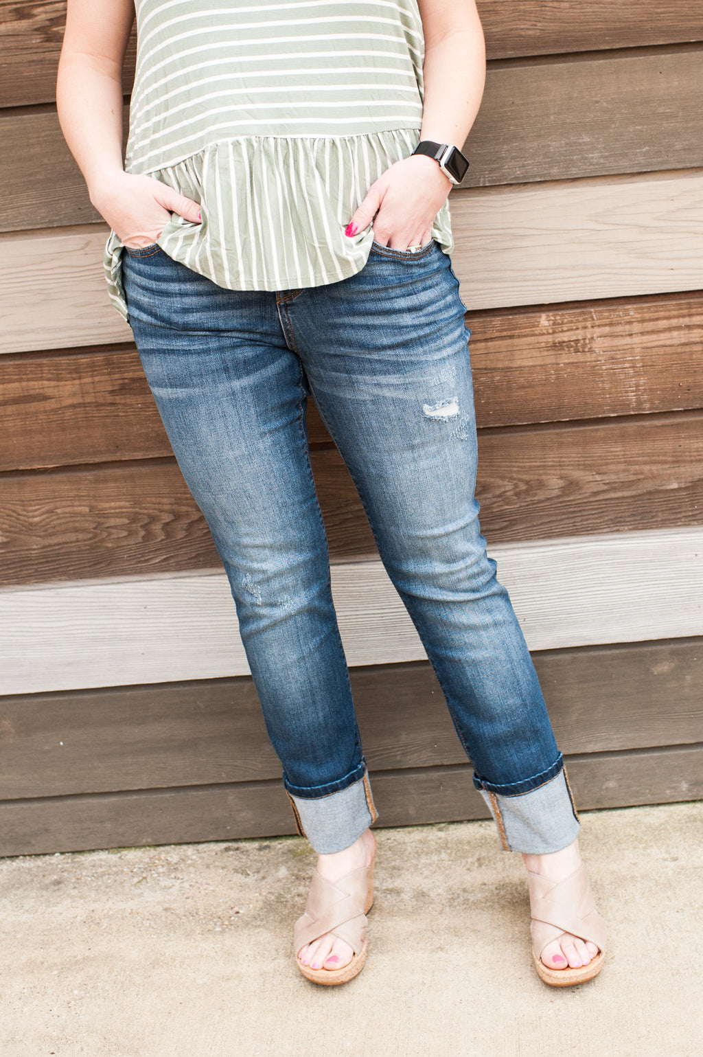 Straight Leg Cuffed Judy Blue Jeans