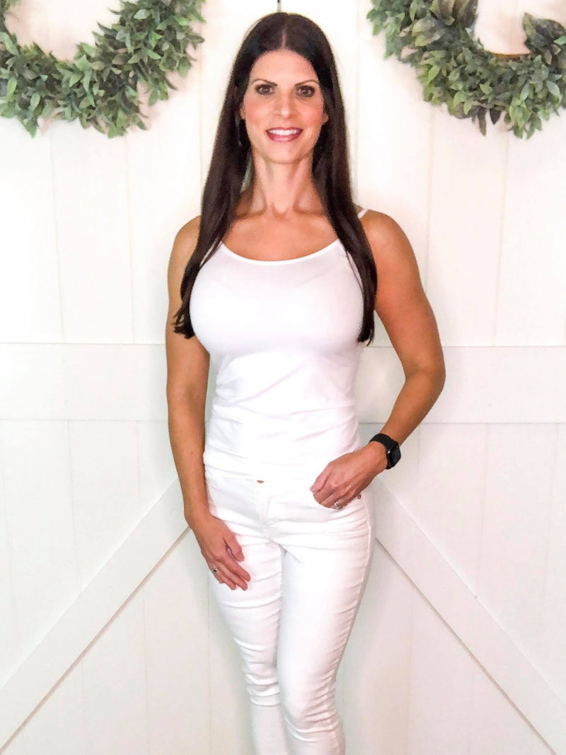 Seamless Adjustable Cami in White