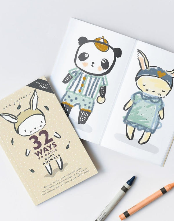 Wee Gallery   Use scribbles or paint, collage or markers to find creative ways to dress up this cuddly crew! This little book is perfectly sized for little hands and can be easily packed for restaurant or car trips. 32 perforated removable pages made of FSC certified paper, eco inks and perfect-binding.