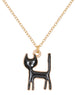 A Mini Penny   18k gold plated chain necklace with black cat charm.