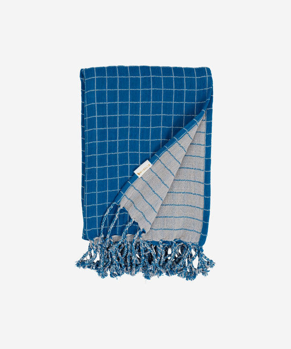 Fabelab - Knitted Blanket Grid - Bright Blue
