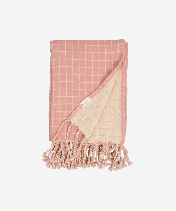 Fabelab - Knitted Blanket Grid - Old Rose