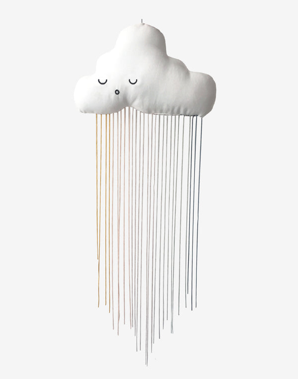 Fabelab   Cute hanging soft mobile shaped as a cloud with rainbow coloured strings.   Size: 30 x 56cm.  Color: white, black & multicolored.  Composition: 100% GOTS certified organic cotton, Recron® filling, viscose strings.   Design from Denmark.