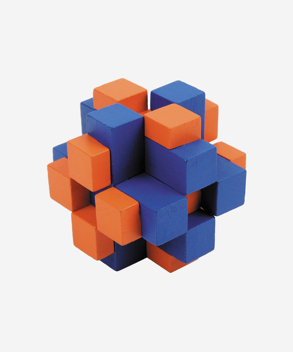 FRIDOLIN - Bamboo Brainteaser Cube Cross Blue/orange