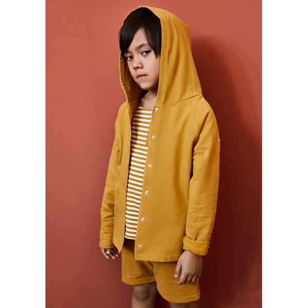 GRAY LABEL RELAXED HOODED CARDIGAN MUSTARD