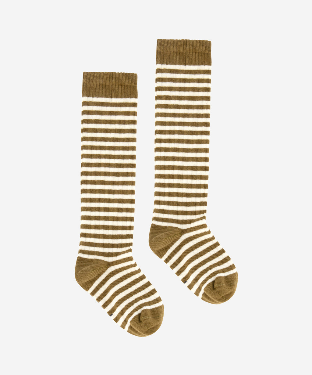 GRAY LABEL Organic Long Ribbed Socks - Peanut/Cream Stripe