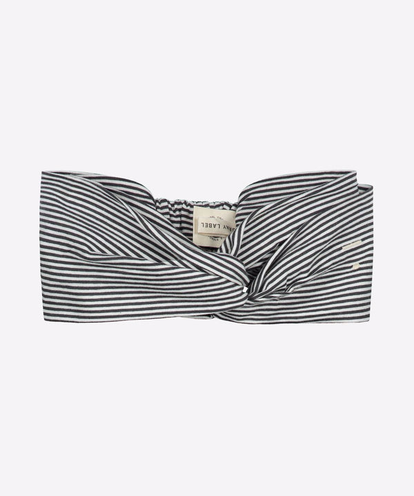GRAY LABEL Organic Twist Headband Nearly Black/Cream Stripe