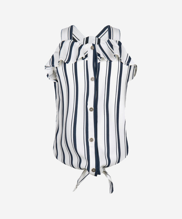 INDIAN BLUE JEANS Girls - Singlet Blouse Top Stripe Off White