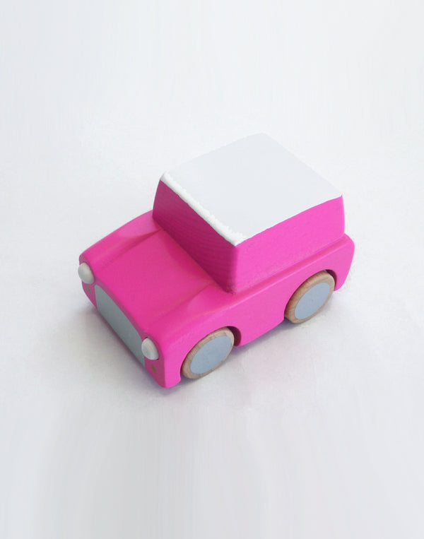 - Kiko+ -  The classic friction-powered motor car made from wood. A great new twist on an old-time favorite. Just pull back and off you go!   Size: 8 x 5,5 x 5cm.  Color: pink, white, silver, wood.  Composition: 100% Beechwood with friction-powered motor.   Designed in Japan.
