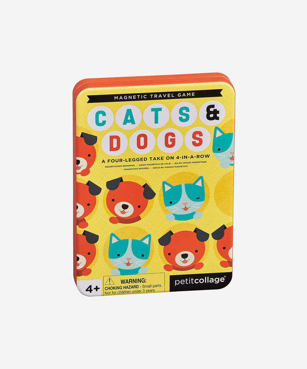 PetitCollage - Magnetic Tin Travel Game - Cats & Dogs 4 in a Row