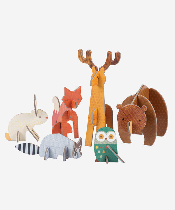 PetitCollage - Pop Out & Build - Woodlands Animals Playset